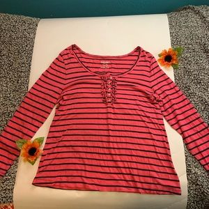 Pink and Black Stripe Long Sleeve Top
